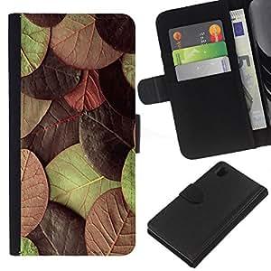 KLONGSHOP // Tirón de la caja Cartera de cuero con ranuras para tarjetas - Hojas de otoño verde marrón - Sony Xperia Z1 L39 //