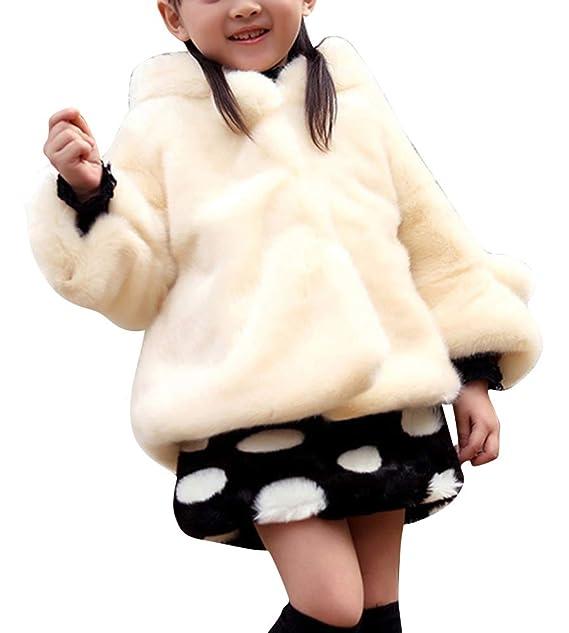 65eabdd1b44c3e AnyuA Cappotti per Ragazze Tinta Unita Pelliccia Sintetica Giubbotto Caldo  Giacca Imbottito Giacche con Cappuccio: Amazon.it: Abbigliamento