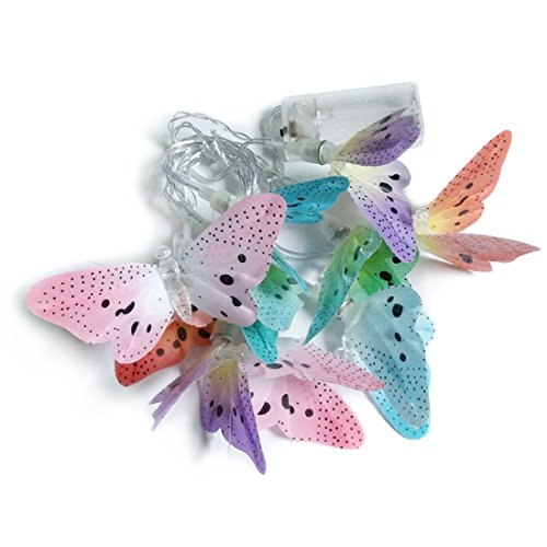 (Penfly 1.65M 10LEDs Battery Operated Decorative Romantic Fiber Optic Butterfly Shape Fairy Night Mood Light for Bedroom Babyroom Child Wedding RGB Color Changing)