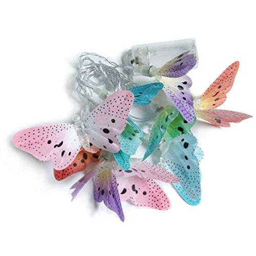 Penfly 1.65M 10LEDs Battery Operated Decorative Fiber Optic Butterfly Shape String Light (Fiber Butterfly Light String)
