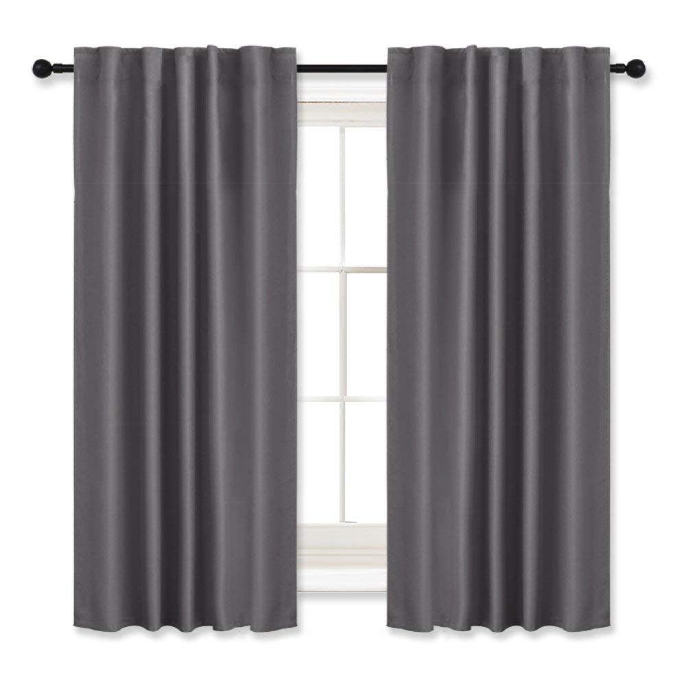 RYB HOME Blackout Curtains Thermal Insulated Drapes Décor Curtain Panels Rod Pocket/Back Tab Window Treatment Draperies Use with rods/Rings / Hooks for Bedroom, W 42'' by L 45'', Grey, 2 Panels