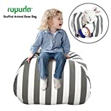 ROPODA Kids Stuffed Animal Storage Bean Bag Cover-100% cotton canvas storage bag Perfect Storage Solution for Toys, Clothes,Covers or Blankets (grey|white striped, 38inches)