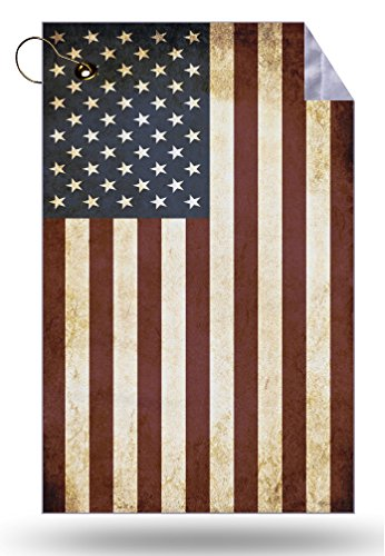 Moonlight Printing American Flag Vintage Grunge Microfiber Velour 11x18 Golf Bag Towel with Grommet and Clip
