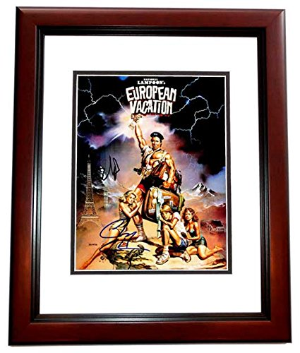 Chevy Chase and Beverly D'Angelo Signed - Autographed European Vacation 11x14 inch Photo MAHOGANY CUSTOM FRAME - Clark Griswold