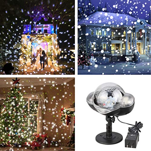 Snowfall LED Lights IP65 Waterproof 2018 Mini Christmas Snowflake Projector Lamp Indoor Outdoor New Year Decoration Light with RF Remote & Timer(High Brightness)