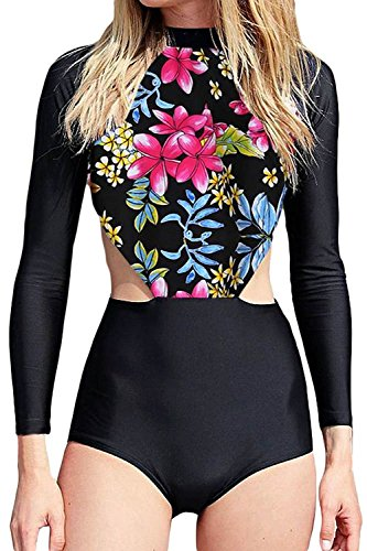 Floral Sleeve Swimsuit Protection Swimwear