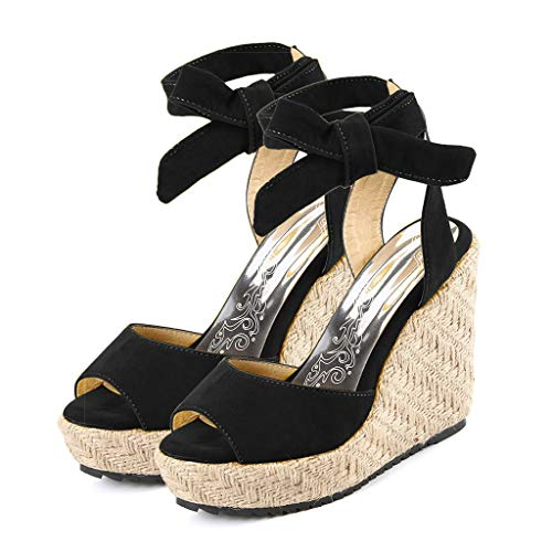- Cenglings Women's Espadrilles Sandals, Ladies Fish Mouth Wedges High Heel Shoes Lace-Up Strappy Platform Beach Roman Shoes Black