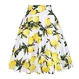 SISHION Women Lemon Skirts Yellow Lemon Printed High Waist 50s Swing Rockabilly Pleated Midi Skirts Female Casual Summer Skirt VD0020 (M, Yellow)