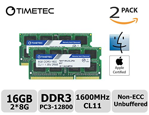 Timetec Hynix IC Apple 16GB Kit (2x8GB) DDR3 1600MHz PC3-12800 SODIMM Memory upgrade For MacBook Pro 13-inch Early 2011,iMac 21.5-inch Mid 2011, Mac Mini Mid 2011 Server and more (16GB Kit (2x8GB)) (Mac Mini With Os X Server)