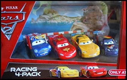 Amazon Com Disney Cars 2 Movie Pixar Exclusive 4 Pack Ronnie Del Cooper Jeff Gorvette Max Schnell Lightning Mcqueen With Racing Wheels 1 55 Scale Mattel 2011 Toys Games