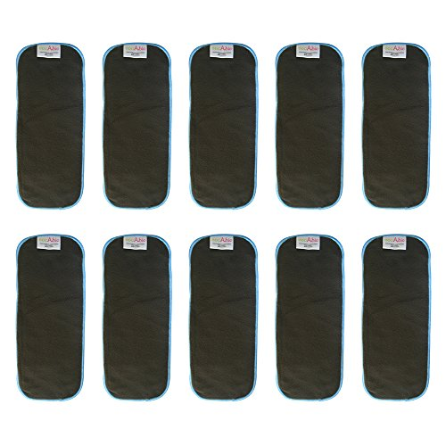 EcoAble 5 Layer Charcoal Bamboo Inserts Reusable Liners for Baby Cloth Diapers (Pack of 10)