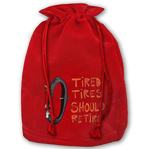 Tired Tires Should Retire Christmas Gold Velvet Drawstring Elastic Gift Sack 35