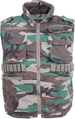 Woodland Camouflage Ranger Vest - Woodland Camouflage Super Soft Vintage Military Ranger Vest With Hood