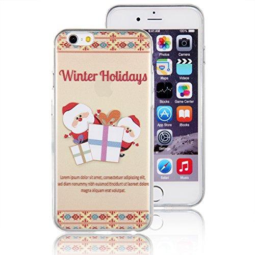 """JewelryWe """"Winter Holidays"""" Weihnachtsmann Weihnachtsmänner liefern Geschenke TPU Silikon Handy Case Schutzhülle Tasche Hülle Rückenschutzhülle Etui für Apple iPhone 6(4,7""""), Mehrfarbig"""