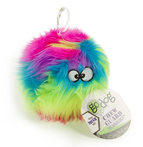 goDog Furballz Rainbow Plush Dog Toy with Chew Guard Technol