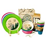 EcoSoulife EBW11009T 14 Piece Picnic Set-with Jute Carry/Storage Bag-Dinner Plates, Bowls, Cups & 24 Pcs Cutlery Set Tokyo (Green/Blue/Pink/Sand)