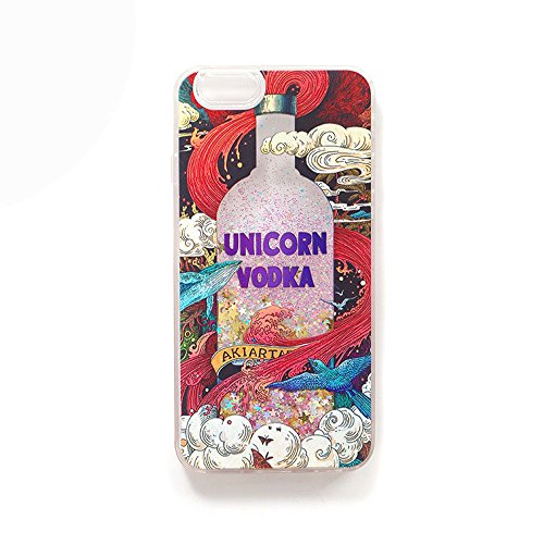 Cute Unicorn iPhone 7 Plus 8 Plus Case Sequin Water Cute Soft TPU Phone Back Cover Case Phone Case (Vodka)