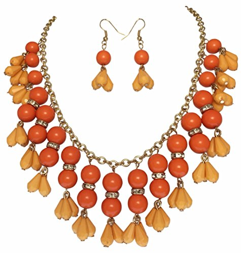 (Orange Cascading Beads Layered Statement Bib Teardrop Gold Tone Necklace Earrings Set)