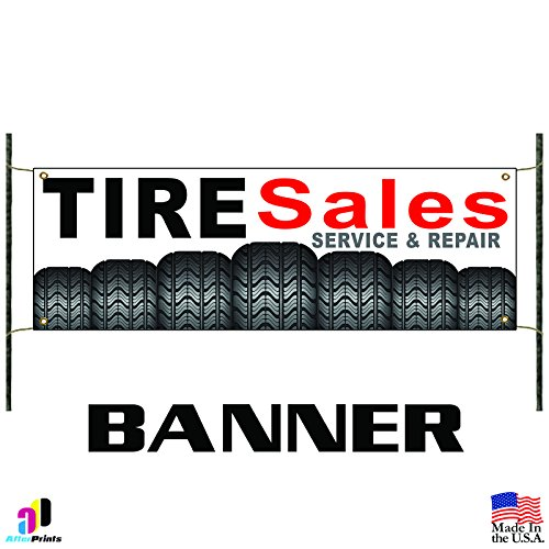 Shop online Tire Sales Service and Repair! Promotion Banner Sign Wheels Autos Cars Repair Shop Used New