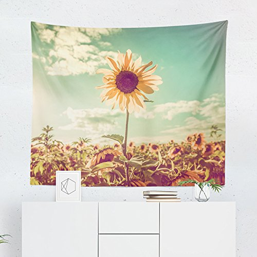 Sunflower Tapestry Wall Hanging Flower Field Floral Tapestries Decor College Dorm Living Room Art Gift Bedroom Dormitory Bedspread Small Medium Large - Printed in the ()