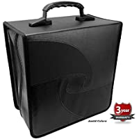 BoostWaves 500 JUMBO Capacity Quality Portable DJ PU Vinyl Compact Disc CD DVD Blu-Ray Nylon Media Storage Wallet Folder Black With Assorted Trim