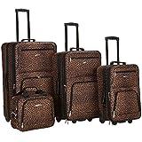 Rockland F125 Luggage Set, Brown Leopard, Medium, 4-Piece