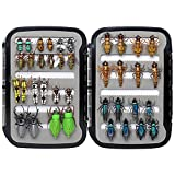 Fly Fishing Flies Collection 69/38 Realistic Flies Dry Wet Nymph Streamers Fly Assortment with Fly Box Flyfishing Lures kits for Trout Bass Pike Salmon Flys (Ultimate Realistic FlySelection 38 Pcs)