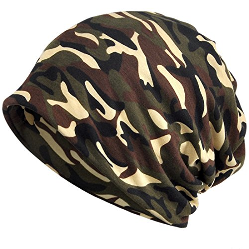 KUYOU Women's Multifunction Camouflage Hat Skull Cap Scarf (Brown)