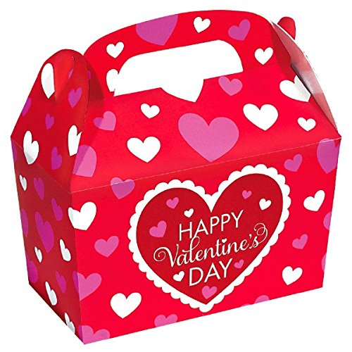 Amscam Valentine's Day Gable Boxes Made of Cardboard, Red/White