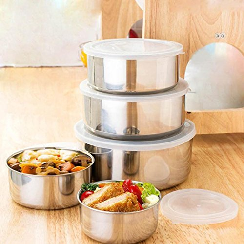 5Pcs Stainless Steel bowl, Ikevan 5 Pcs Stainless Steel Home Kitchen Food Container Storage Mixing Bowl Set