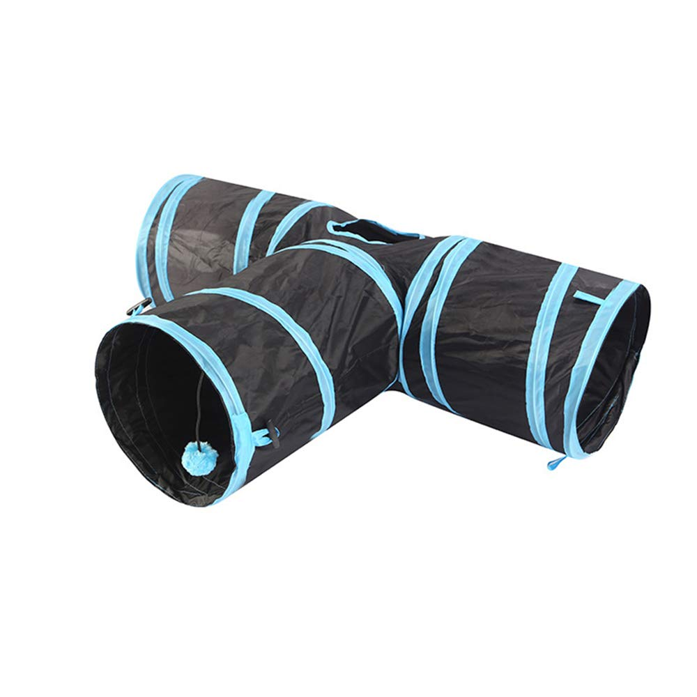 bluee Tunnel Bored Cat Toys Collapsible Cat Tunnel Hole Toy Ball Cat (color   bluee)