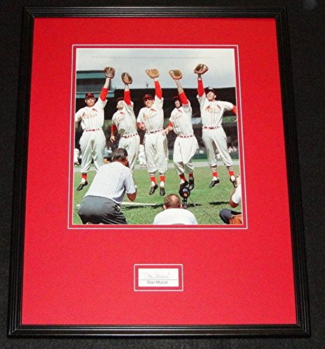 Stan Musial Autographed Photo - Stan Musial Autographed Photo - Framed 16x20 Display 1955 - PSA/DNA Certified - Autographed MLB Photos