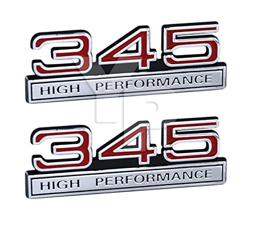 345 5.7 Liter High Performance Engine Emblems in Chrome & Red Trim - 4