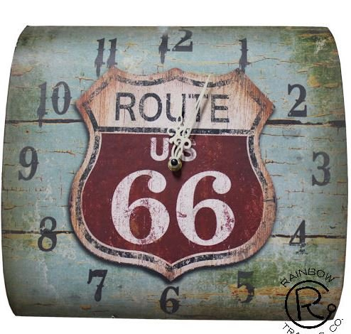 Rustic Colors of Rainbow Metal ROUTE 66 METAL CLOCK