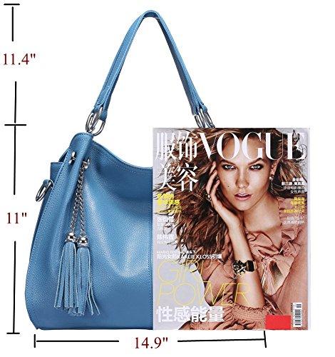 For Medium Blue Women bags Women Stylish For Light Size Leather Crossbody Hobo Fringe Bags Genuine Crossbody FwFZv17