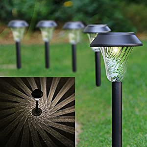 Set of 6 Black Solar Path Lights