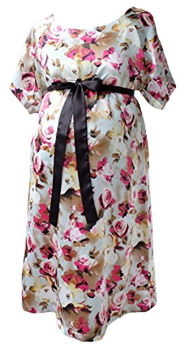 JANA JIRA Designer Maternity Hospital Patient Gown Satin Labor and delivery Nursing - S/M - Ruby (Tie Back Patient Gown)