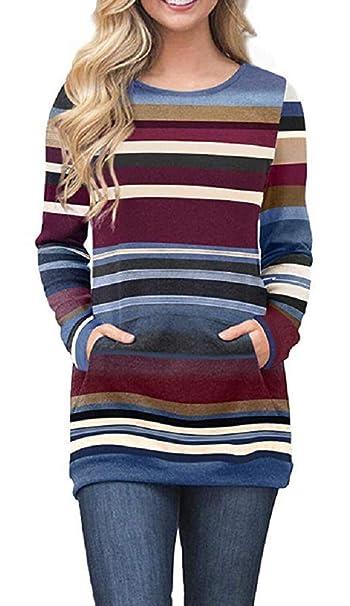 adcc65d09 BENDIC Womens Color Block Tunic Tops Long Sleeve Sweatshirts O Neck Casual  Loose Kangaroo Pockets Blouse T-Shirts (Blue, XL) at Amazon Women's  Clothing ...