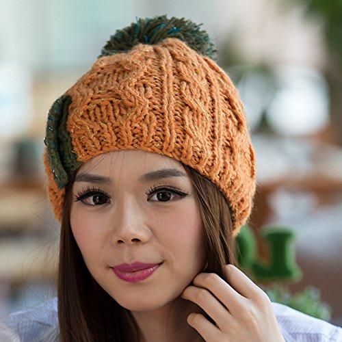 Moda ORANGE Versión Sombrero Red otoño del de Invierno de Coreana Bola Maozi Grande Patrones para Knit el wIdaIq