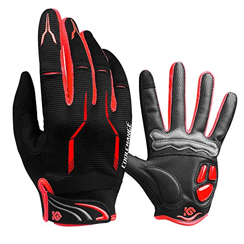 Cycling Gloves Full Finger Gel Padded Mountain Biking Gloves Touch Screen Bicycle Gloves for Men & Women L (7.48''-8.66'')