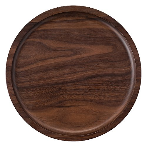 Ottoman Tray Round Storage (Rustic Walnut Wooden Tray Solid Wood Serving Tray Square Rectangle Platter Tea Tray Coffee Table Tray (Round (9x9x0.9 inch)))