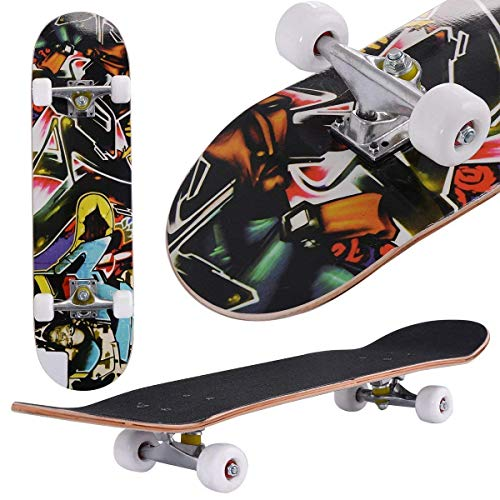 Costzon 31 x 8 Complete Skateboard Maple Deck Wood Professional Skate Board