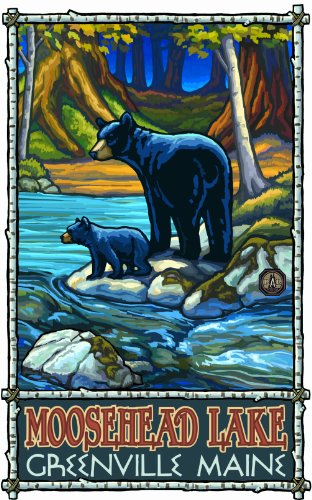 Northwest Art Mall Moosehead Lake Greenville Maine Bear and Cub in Stream Painting by Paul A Lanquist, 11-Inch by - Greenville Malls In