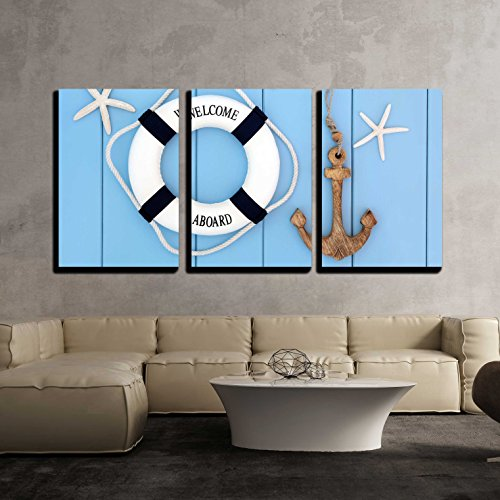 Decorative Lifebuoy Anchor and Starfish Sea Shells over Wooden Blue Background x3 Panels