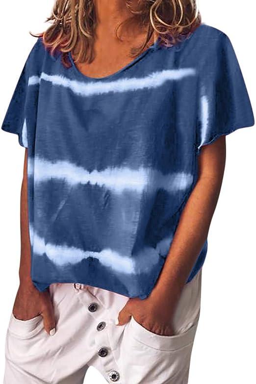 Darringls Blusa y Camisa Mujer,Camisetas Imprimir Rayas Blusa ...