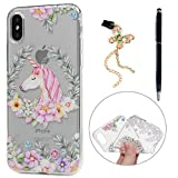 iPhone X Case, KASOS Colorful Painting Embossed Oil Cute Unicorn Flower Soft TPU Clear Case Ultra-Thin Slim Fit Lightweight Bumper Cover & Dust Plug & Stylus for iPhone X - Unicorn