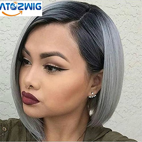 ATOZWIG Ombre Hair Synthetic Short Bob wigs Sliky Straight Heat Resistant Fiber Kanekalon Wig for African American Black (Wigs For Black Women)