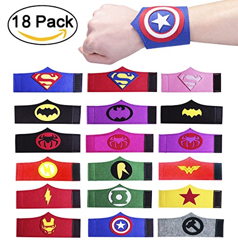 Dlazm 18 Pieces Superhero Bracelets for Children Birthday Party Supplies ()