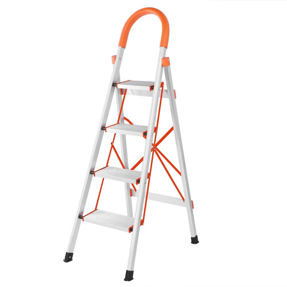 LUISLADDERS 4 Step Ladder Folding Step Stool Stepladders Aluminum Lightweight Multi Purpose Portable Folding Home Ladder 330lbs EN131
