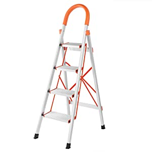 LUISLADDERS 4 Step Ladder Folding Step Stool Stepladders Aluminum Lightweight Multi Purpose Portable Folding Home Ladder 330lbs EN131